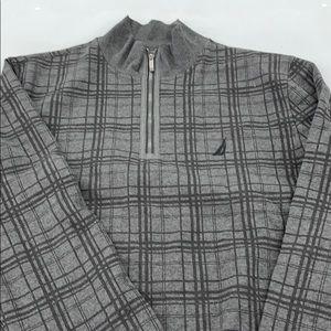 Nautica 1/4 zip sweater sweatshirt gray black XXL